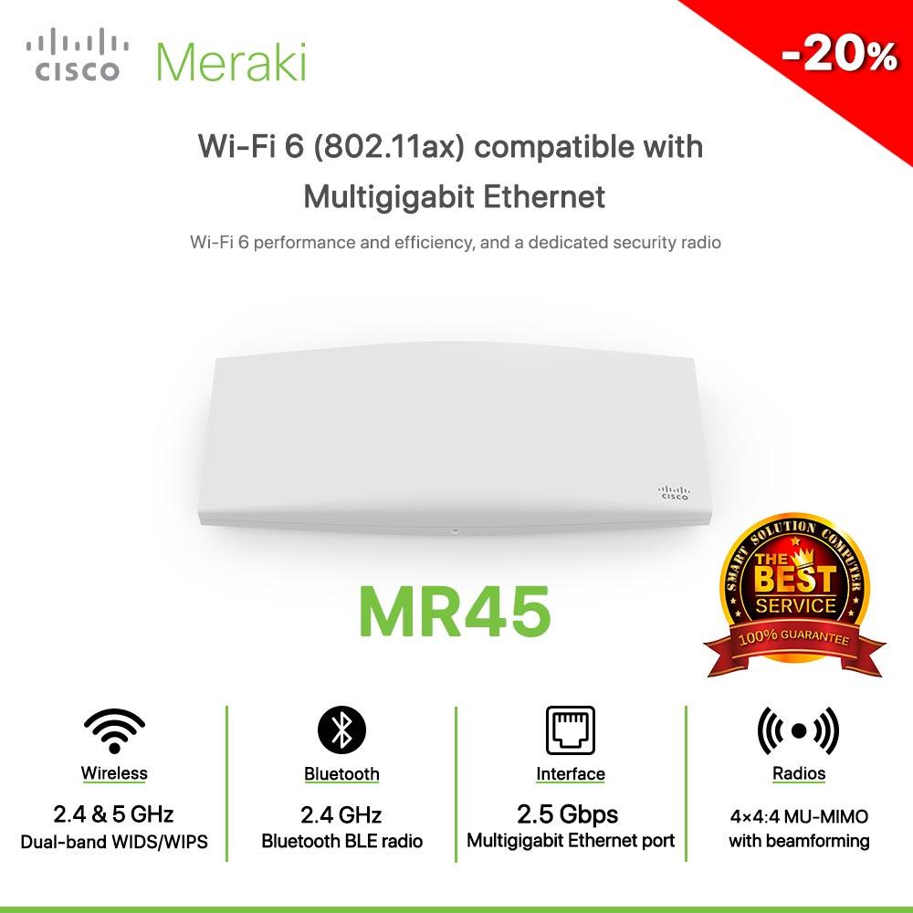Cisco Meraki MR45 Wi-Fi 6 (802.11ax) compatible with Multigigabit Ethernet