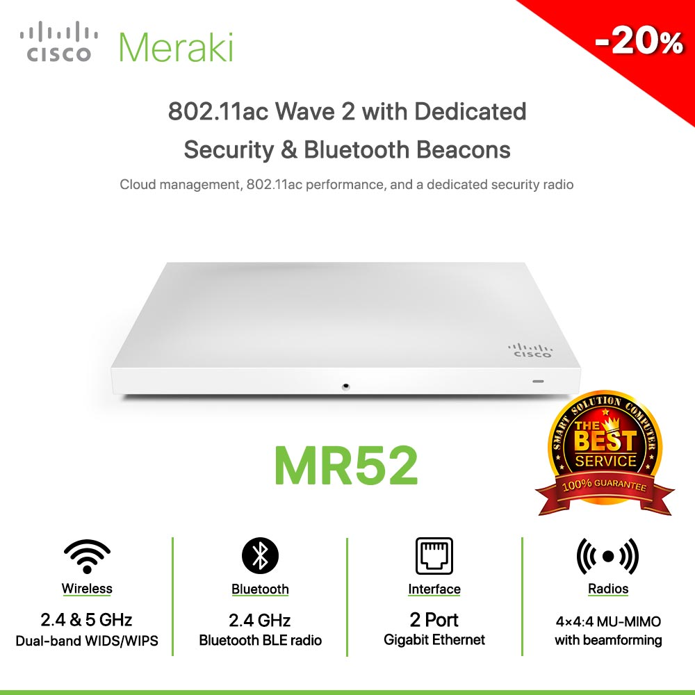 Cisco Meraki MR52 802.11ac Wave 2 with Dedicated Security & Bluetooth Beacons