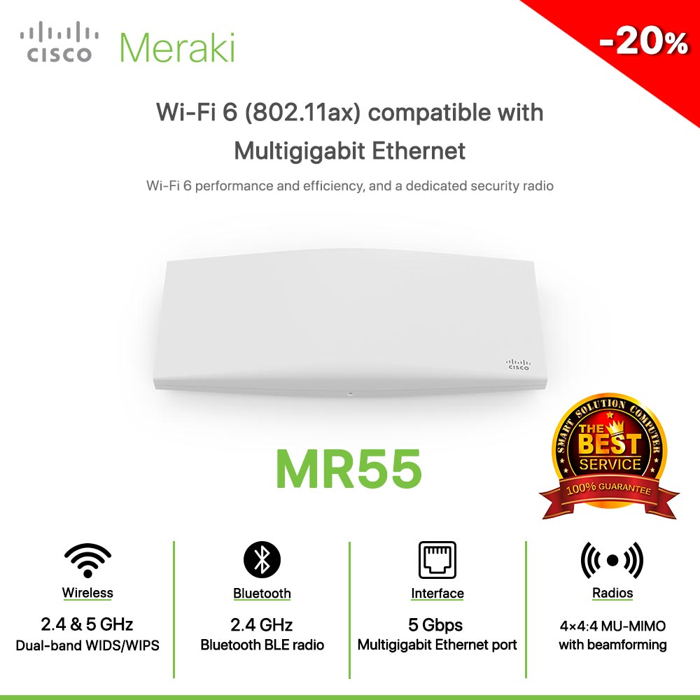 Cisco Meraki MR55 Wi-Fi 6 (802.11ax) compatible with Multigigabit Ethernet