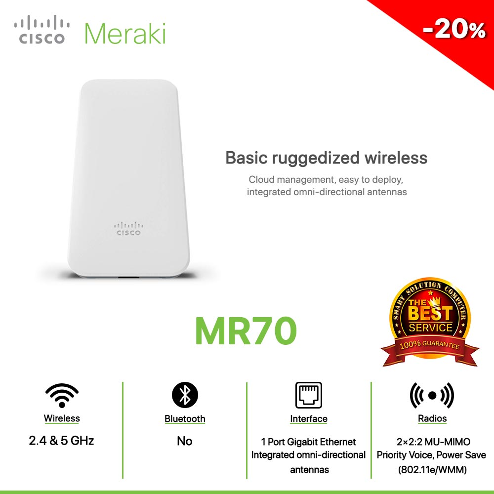 Cisco Meraki MR70 Basic ruggedized wireless Cloud management, easy to deploy, integrated omni-directional antennas