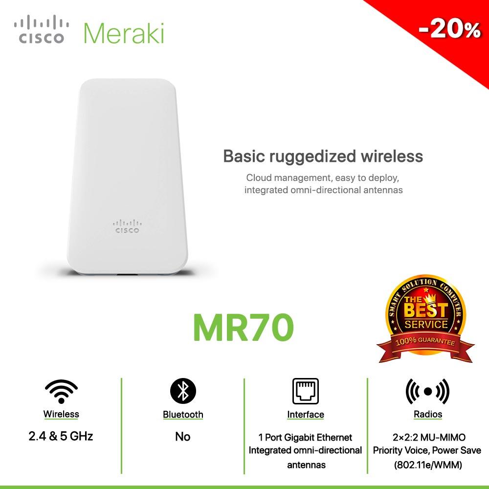 Cisco Meraki MR70 Basic ruggedized wireless Cloud management, easy to deploy, integrated omni-directional antennas