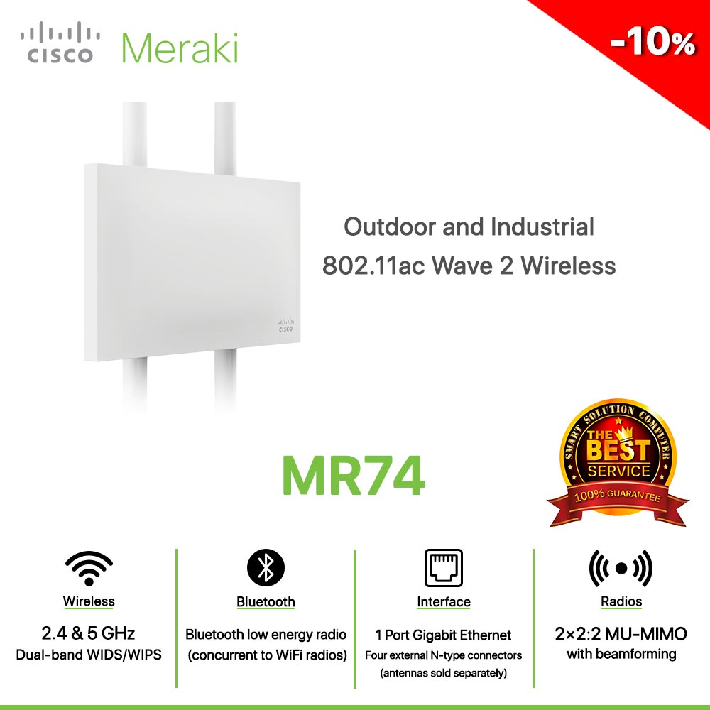 Cisco Meraki MR74 Outdoor and Industrial 802.11ac Wave 2 Wireless