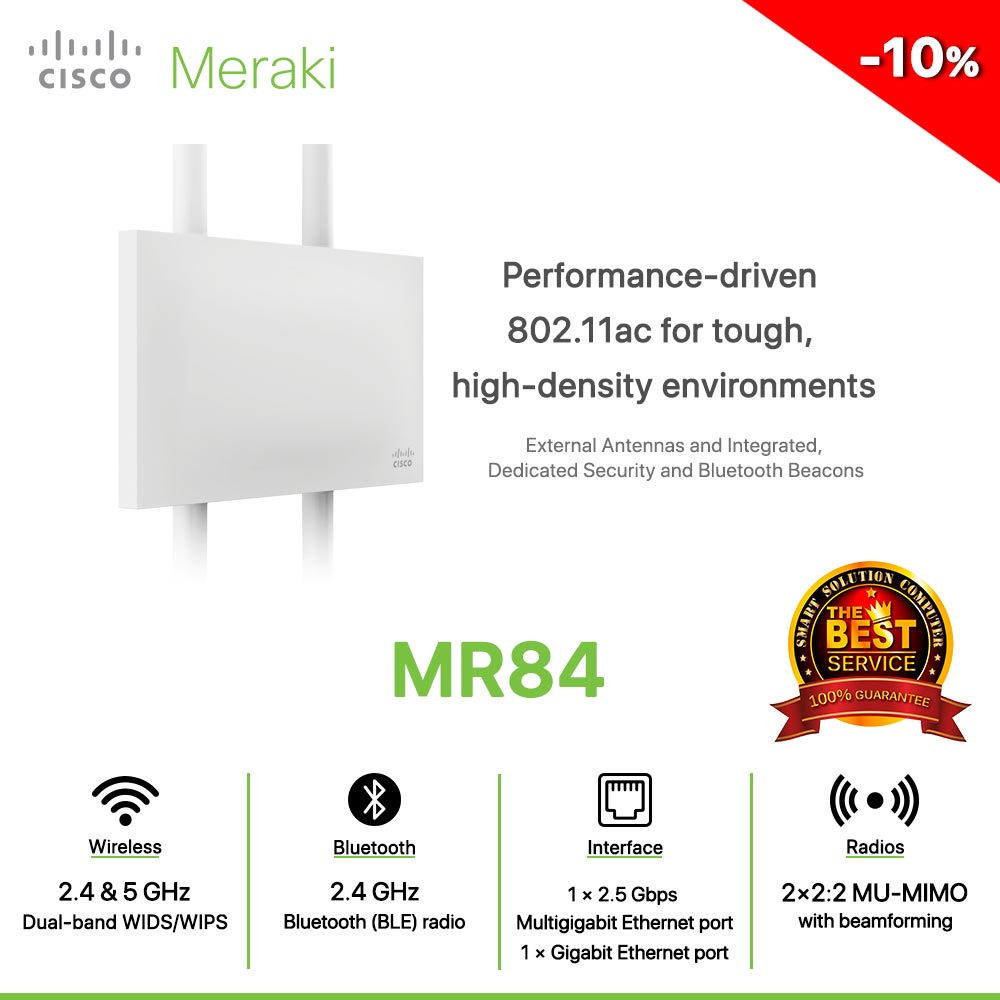 Cisco Meraki MR84 Performance-driven 802.11ac for tough, high-density environments