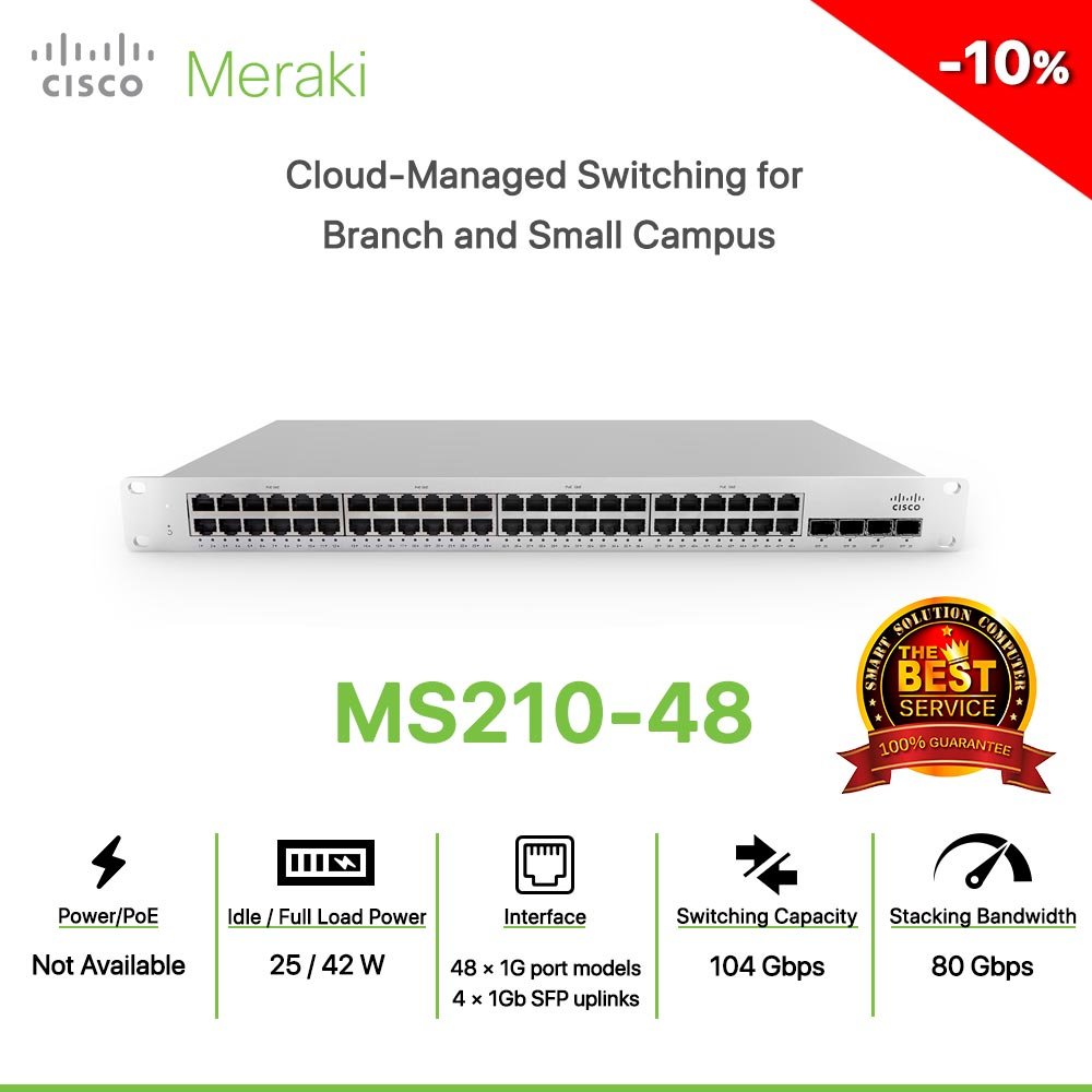 Cisco Meraki MS210-48 Cloud-Managed Switching for  Branch and Small Campus