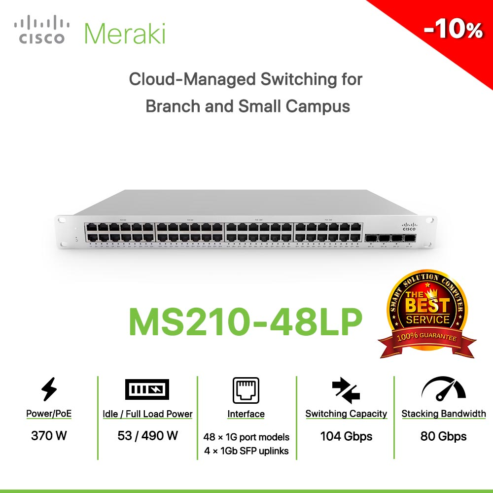 Cisco Meraki MS210-48LP Cloud-Managed Switching for Branch and Small Campus