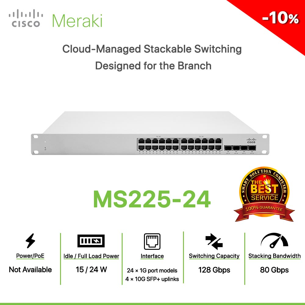 Cisco Meraki MS225-24 Cloud-Managed Stackable Switching  Designed for the Branch