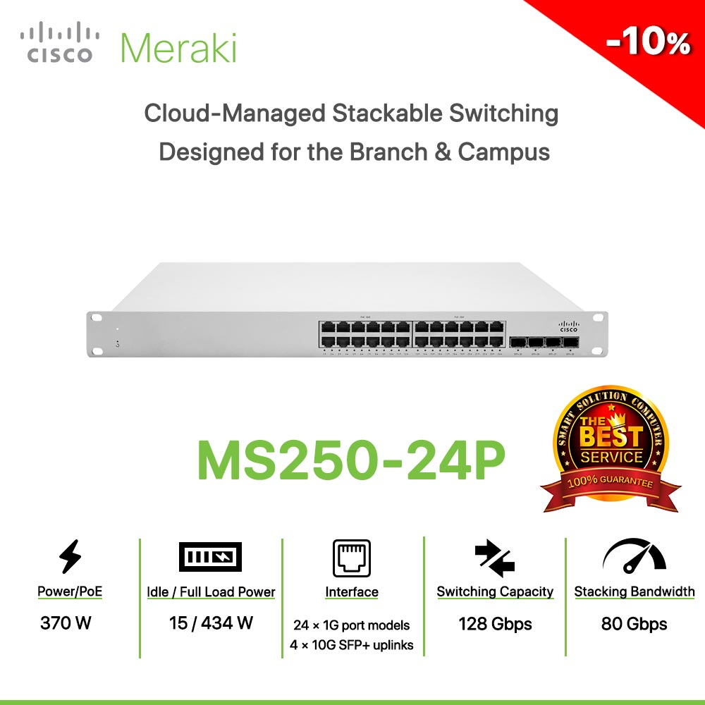 Cisco Meraki MS250-24P Cloud-Managed Stackable Switching Designed for the Branch