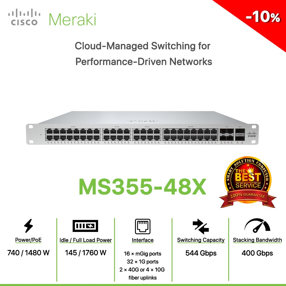 Cisco Meraki MS355-48X Cloud-Managed Switching for Performance-Driven Networks