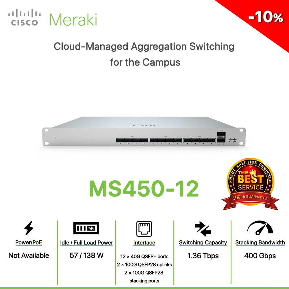 Cisco Meraki MS450-12 Cloud-Managed Aggregation Switching for the Campus