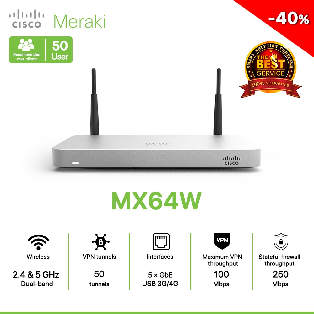 Cisco Meraki MX64W Router All in one Wireless