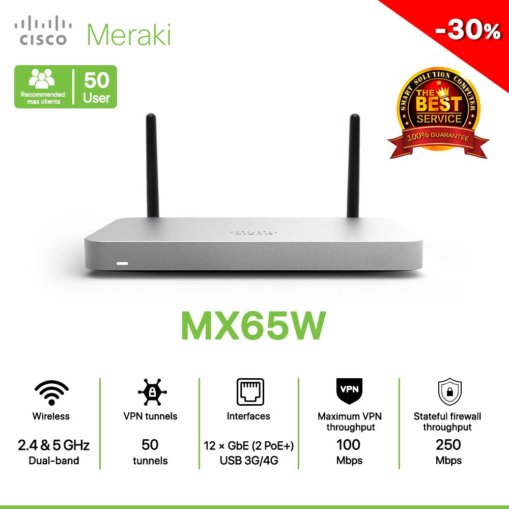 Cisco Meraki MX65W Router All in one Wireless, Security, and SD-WAN