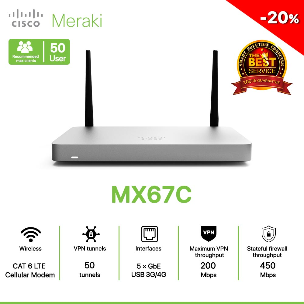 Cisco Meraki MX67C Router 100% Cloud Managed Security and SD-WAN, with LTE