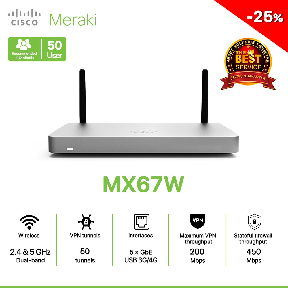 Cisco Meraki MX67W Router All in one Wireless, Security, and SD-WAN