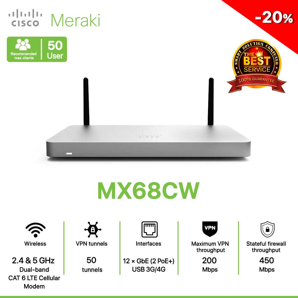 Cisco Meraki MX68CW Router All in one Wireless, LTE, Security, and SD-WAN