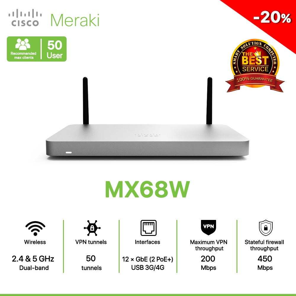 Cisco Meraki MX68W Router All in one Wireless, Security, and SD-WAN