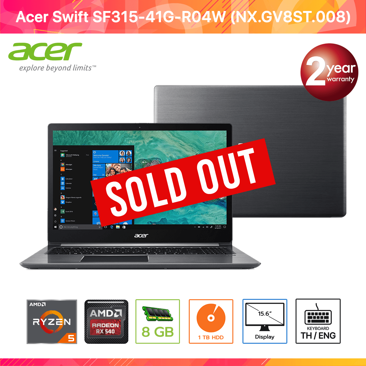 Acer Swift SF315-41G-R04W (NX.GV8ST.008) AMD RYZEN 5 2500U/8GB/1TB/Radeon RX540/15.6/Linux (Steel Gray)