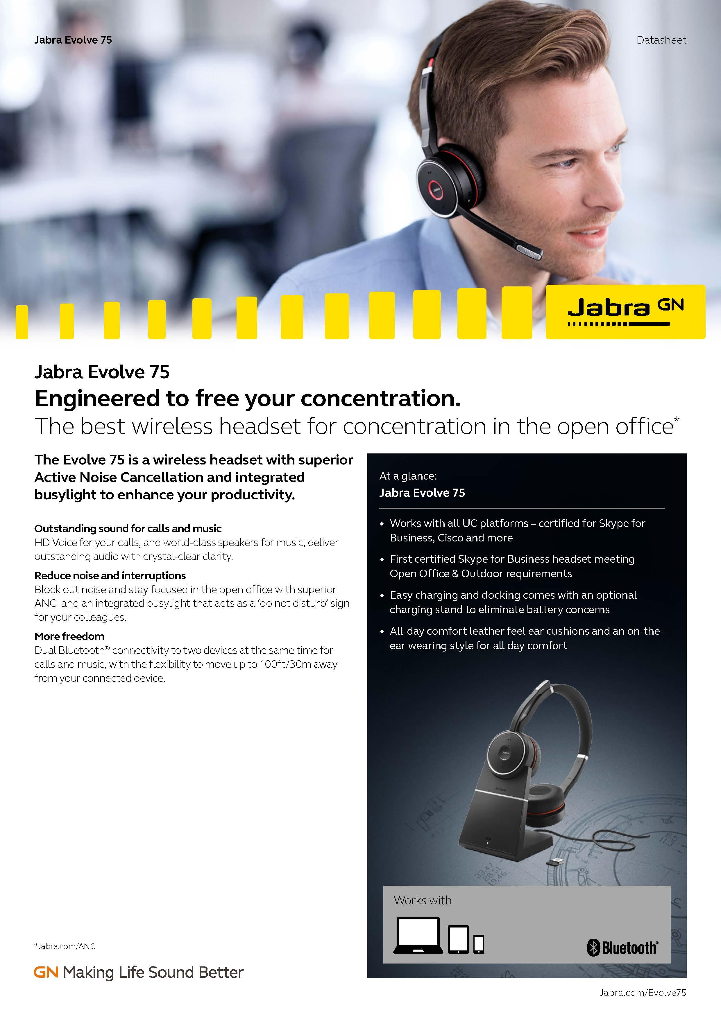 Jabra Evolve 75 Ms Stereo Jba 7599 832 109