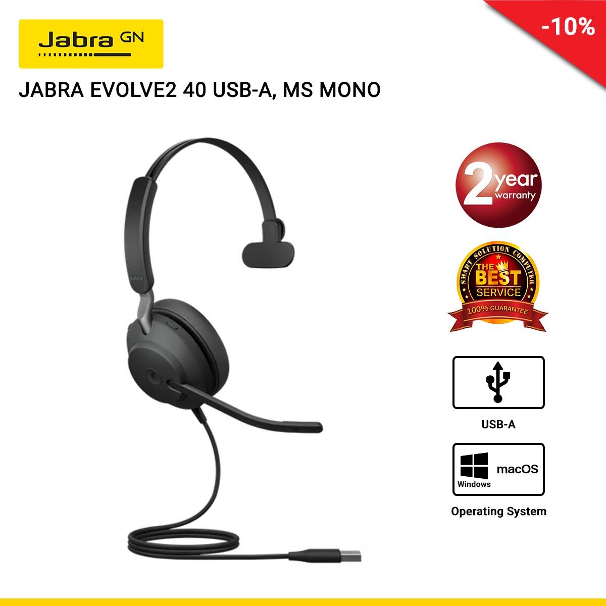 JABRA EVOLVE2 40 USB-A, MS MONO (JBA-24089-899-999)