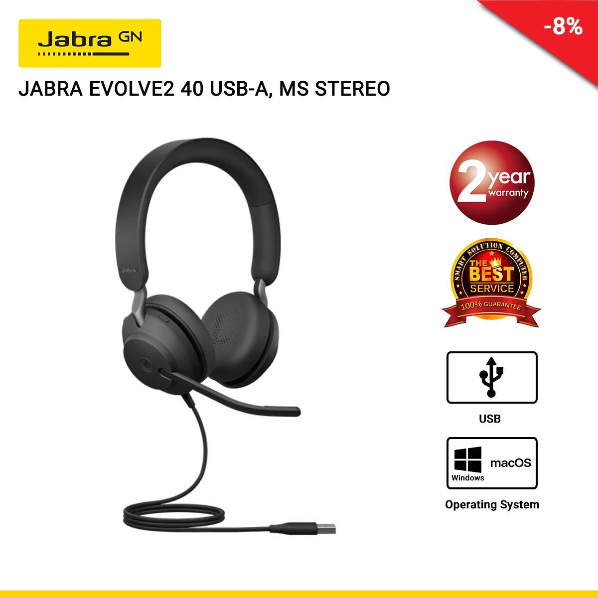 JABRA EVOLVE2 40 USB-A, MS STEREO (JBA-24089-999-999)