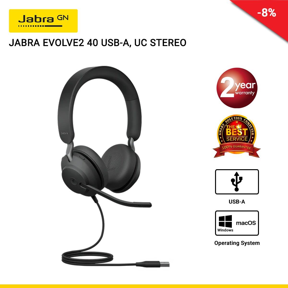 JABRA EVOLVE2 40 USB-A, UC STEREO (JBA-24089-989-999)