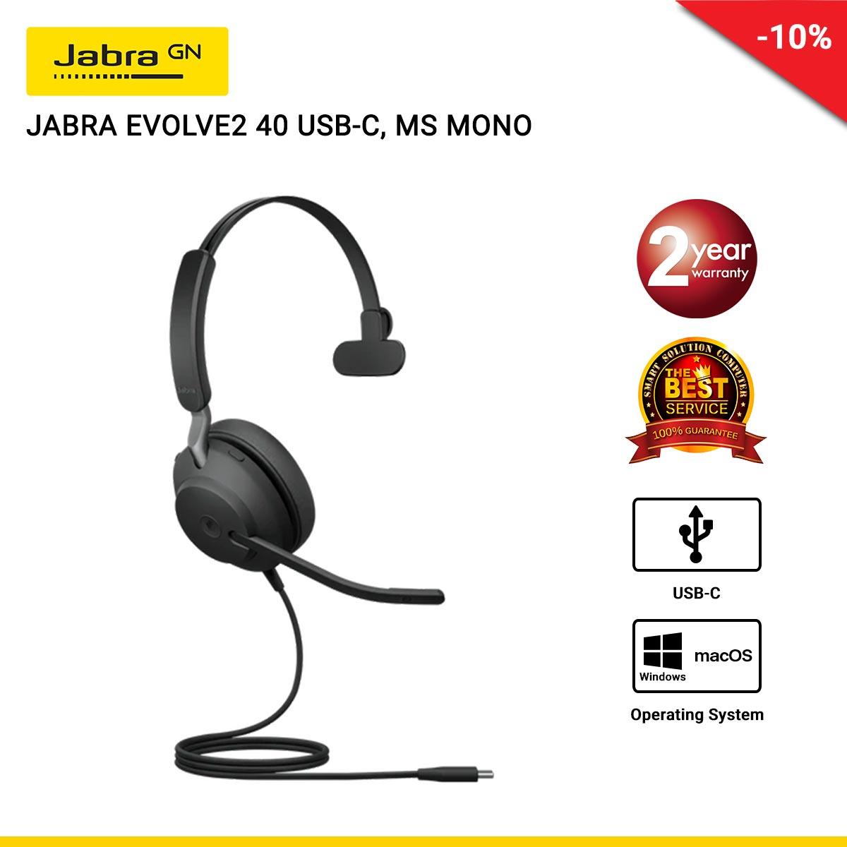 JABRA EVOLVE2 40 USB-C, MS MONO (-JBA-24089-899-999)