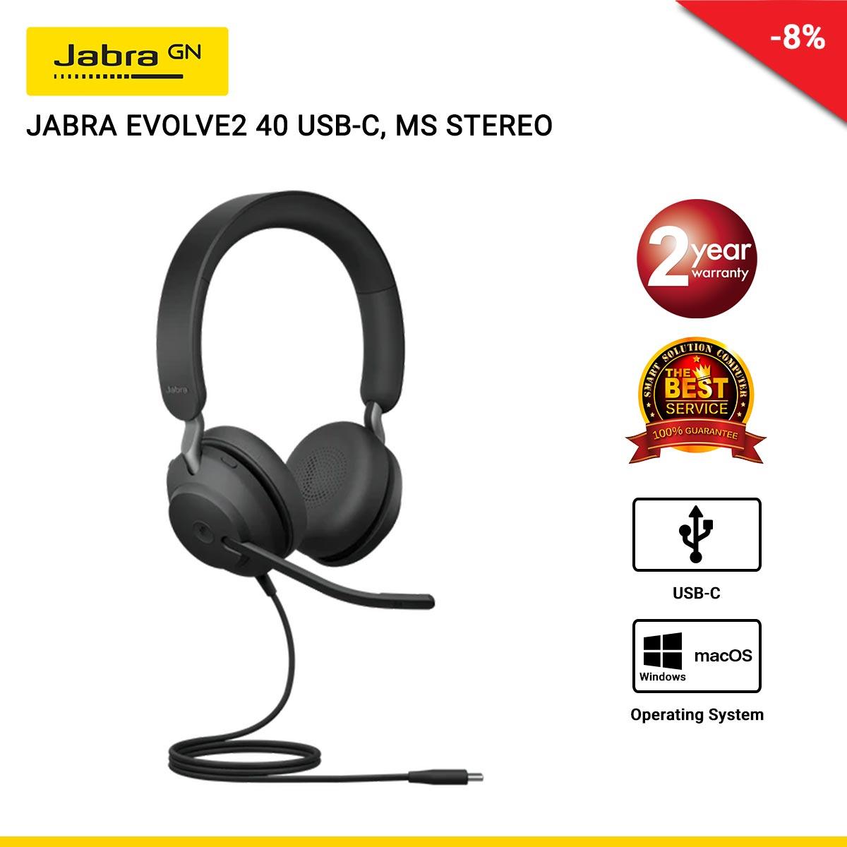 JABRA EVOLVE2 40 USB-C, MS STEREO (JBA-24089-999-899)