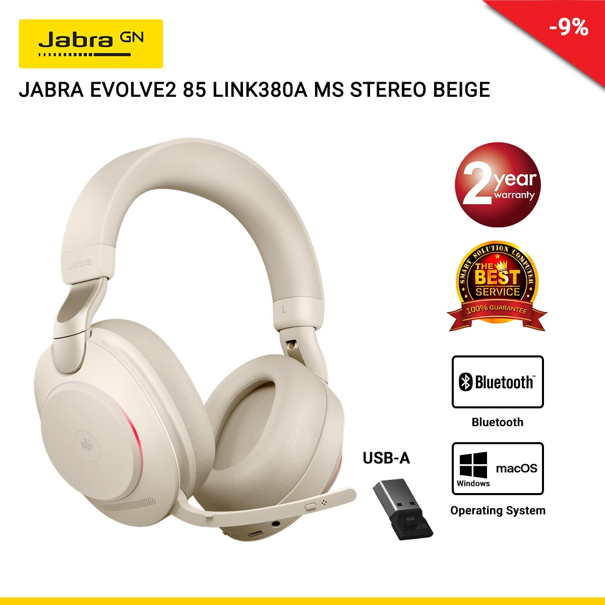 JABRA EVOLVE2 85 LINK380A MS STEREO BEIGE (JBA-28599-999-998)