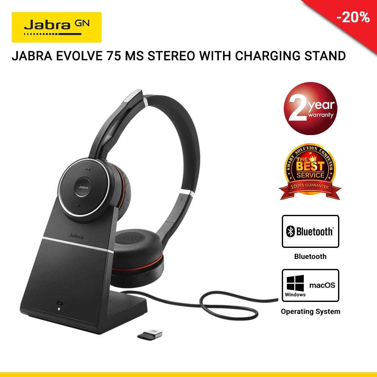 JABRA EVOLVE 75 MS STEREO USB-A With Charging Stand (JBA-7599-832-199)