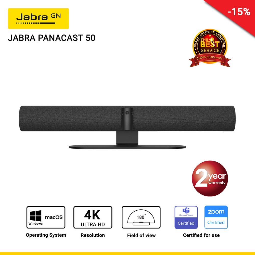 Jabra Panacast 50 180° Panoramic 4K วิดีโอคอนเฟอร์เรนซ์บาร์ สำหรับประชุมขนาดเล็กถึงขนาดกลาง (Black)