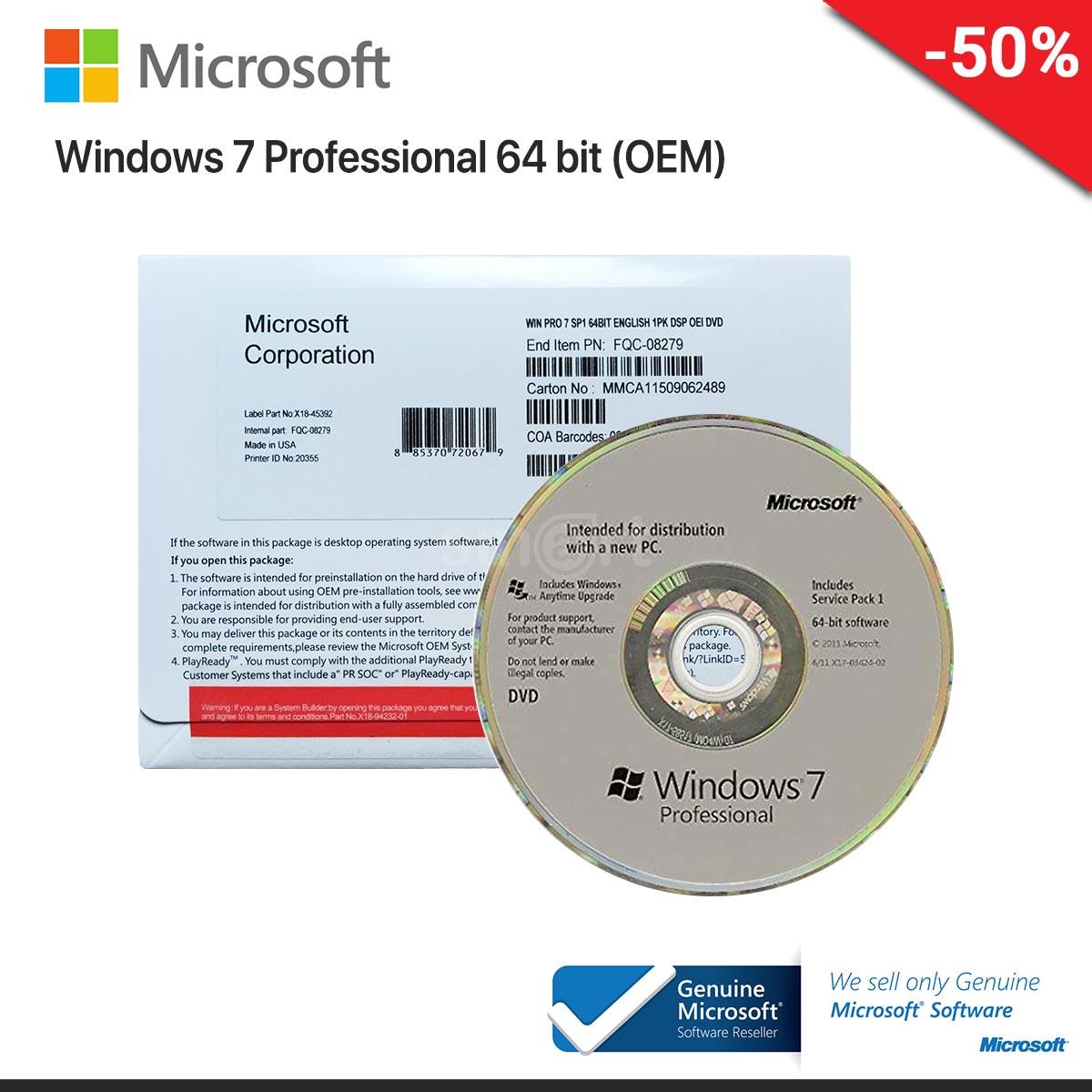 Microsoft Windows 7 Professional Eng 64 bit OEM (FQC-08289)
