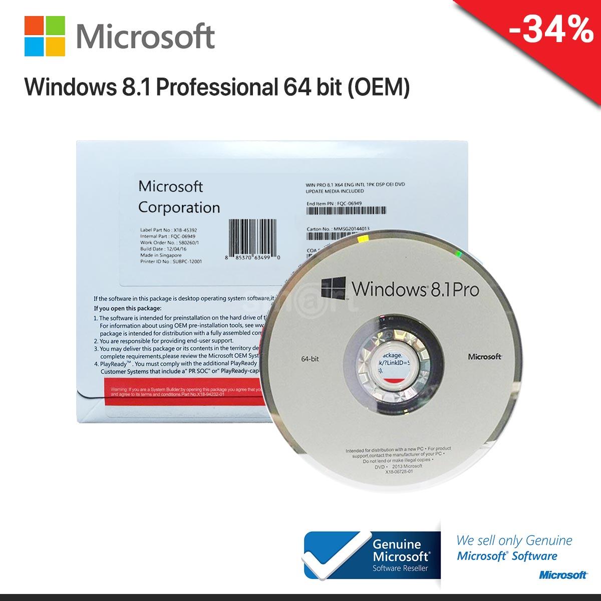 Microsoft Windows 8.1 Pro 64 Bit ENG (OEM) FQC-06958