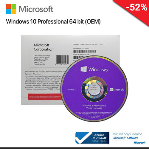 Microsoft Windows 10 Pro 64 Bit ENG (OEM) FQC-08929