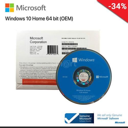 Microsoft Windows 10 Home 64Bit Eng Intl 1pk DSP OEI DVD (KW9-00139) OEM