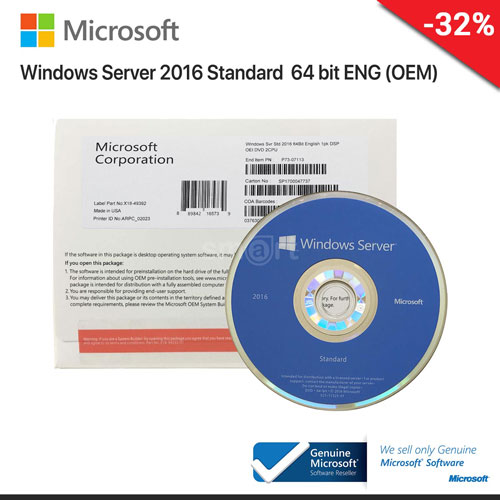 Windоws Server 2016 Standard 64Bit English 1 Pack DSP OEI DVD (P73-07113)