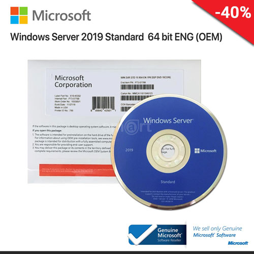 Windows Server 2019 Standard x64 Eng Int 1pk DSP OEI DVD 16Core P/N:P73-07788
