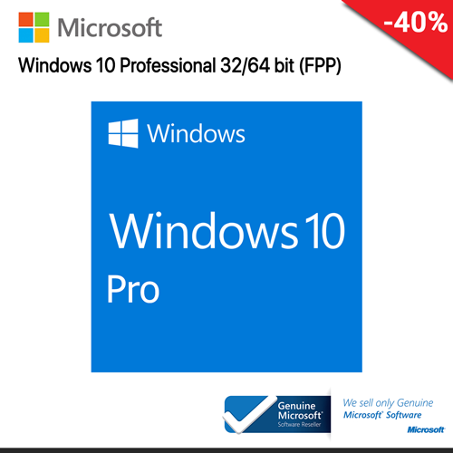 Microsoft Windows 10 Professional (FQC-08789) 32-bit/64-bit Eng Intl USB RS (FPP)