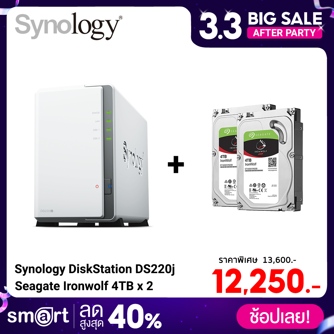 Synology DiskStation DS220j 2-Bays + Seagate Ironwolf 4TB (ST4000VN008) x 2
