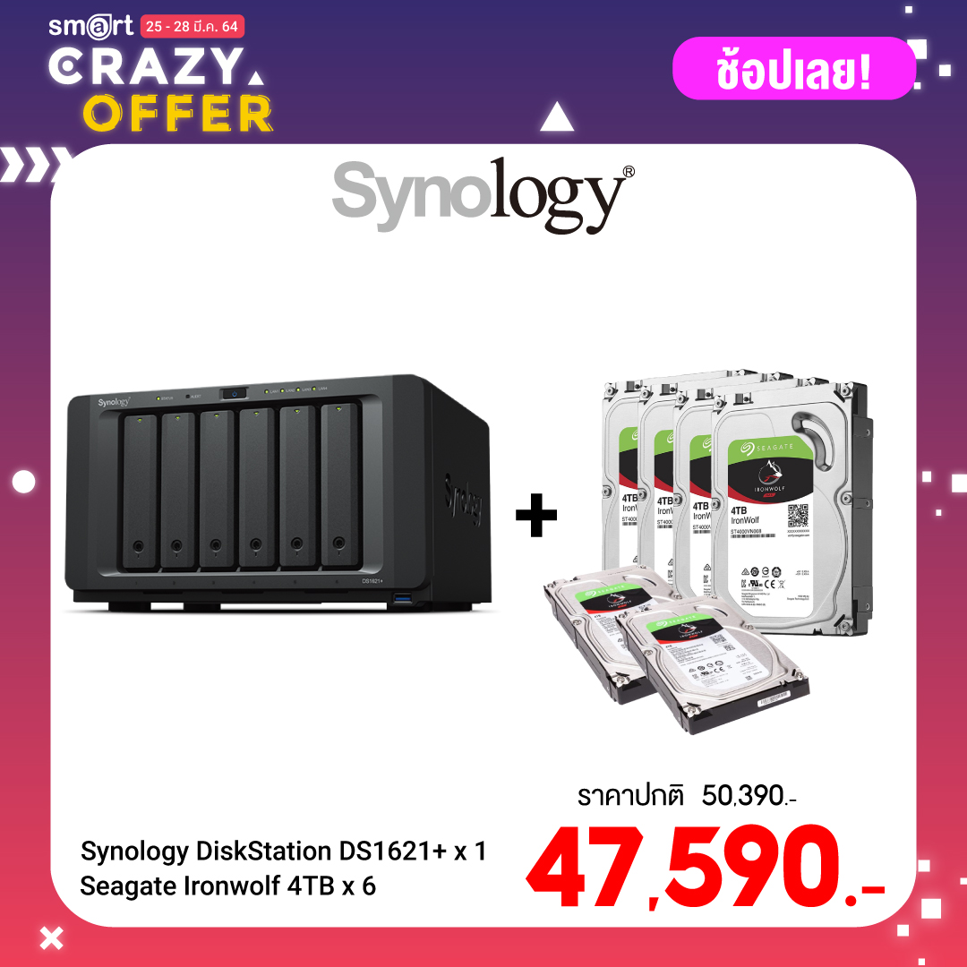 Synology DiskStation DS1621+ 6-Bay NAS + Seagate Ironwolf 4TB (ST4000VN008) x 6