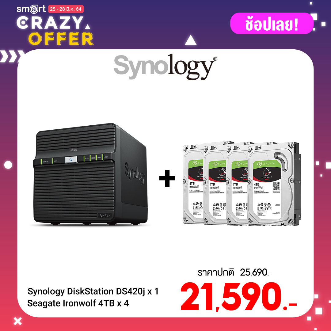 Synology DiskStation DS420J 4-bay NAS + Seagate Ironwolf 4TB (ST4000VN008) x 4