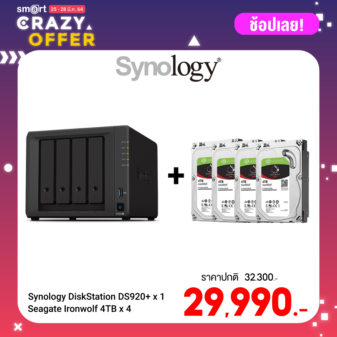 Synology DiskStation DS920+ 4-bay NAS + Seagate Ironwolf 4TB (ST4000VN008) x 4
