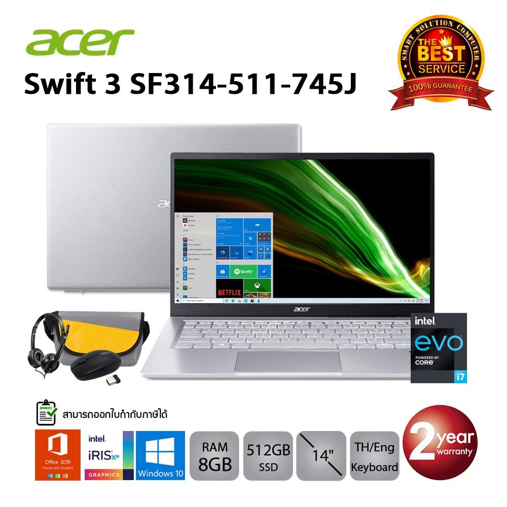 Acer Swift 3 SF314-511-745J i7-1165G7/8GB/512GB/IrisXe/14.0/Win10+Office (Pure Silver)