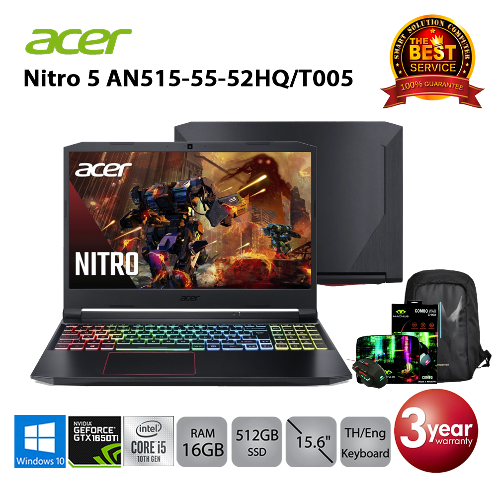 Acer Nitro 5 AN515-55-52HQ/T005 i5-10300H/16GB/512GB SSD/GTX1650Ti/15.6/Win10 (Black)