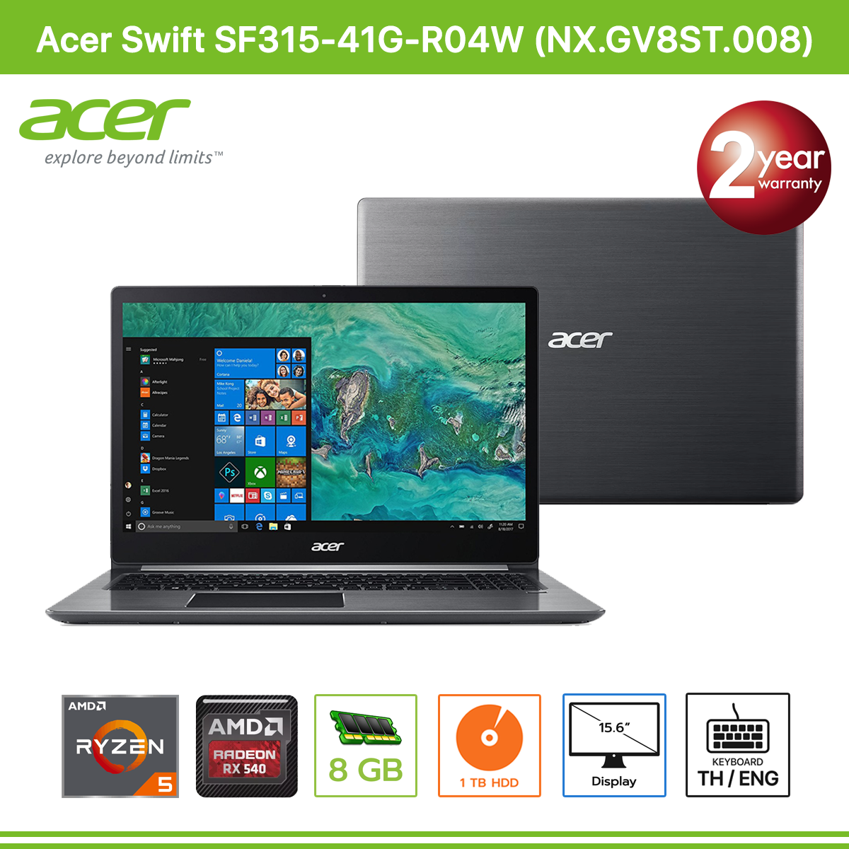 Acer Swift SF315-41G-R04W (NX GV8ST 008) AMD RYZEN 5 2500U/8GB/1TB/Radeon  RX540/15 6/Linux (Steel Gray)