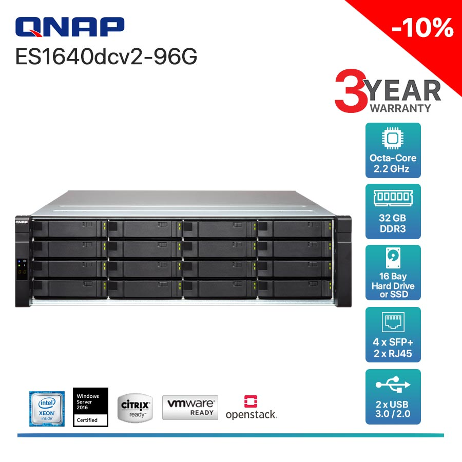 QNAP ES1640dcv2-96G 16-Bay + Rack mount