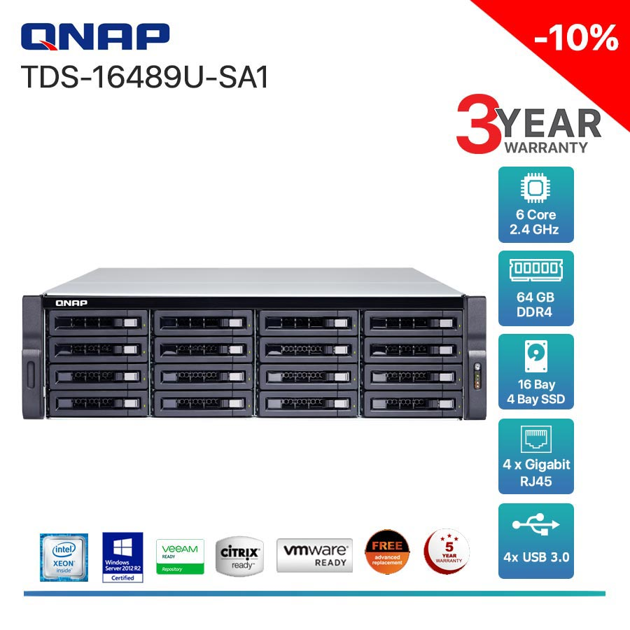 QNAP TDS-16489U-SA1 16-Bay + Rack mount