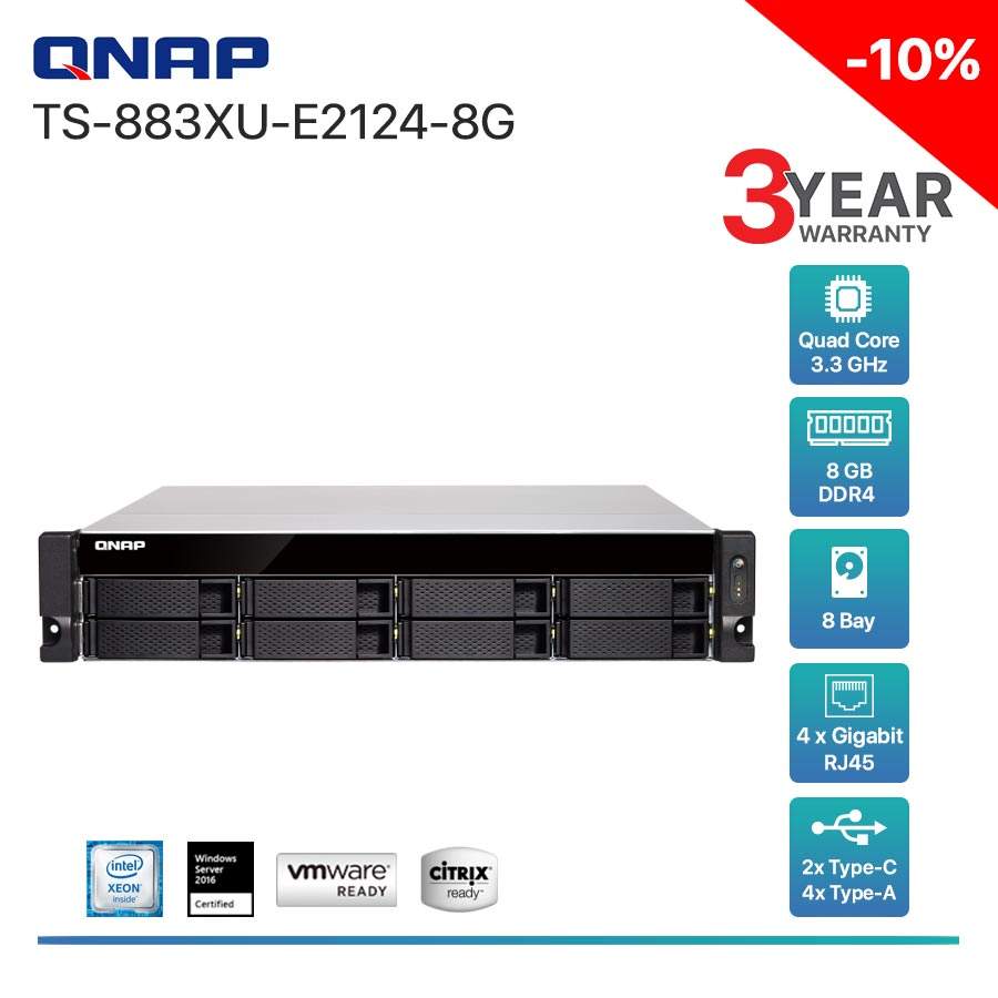 QNAP TS-883XU-E2124-8G 8-Bay + Rack mount