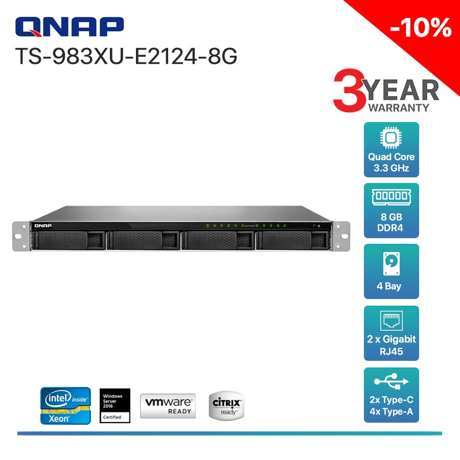 QNAP TS-983XU-E2124-8G 4-Bay + Rack mount