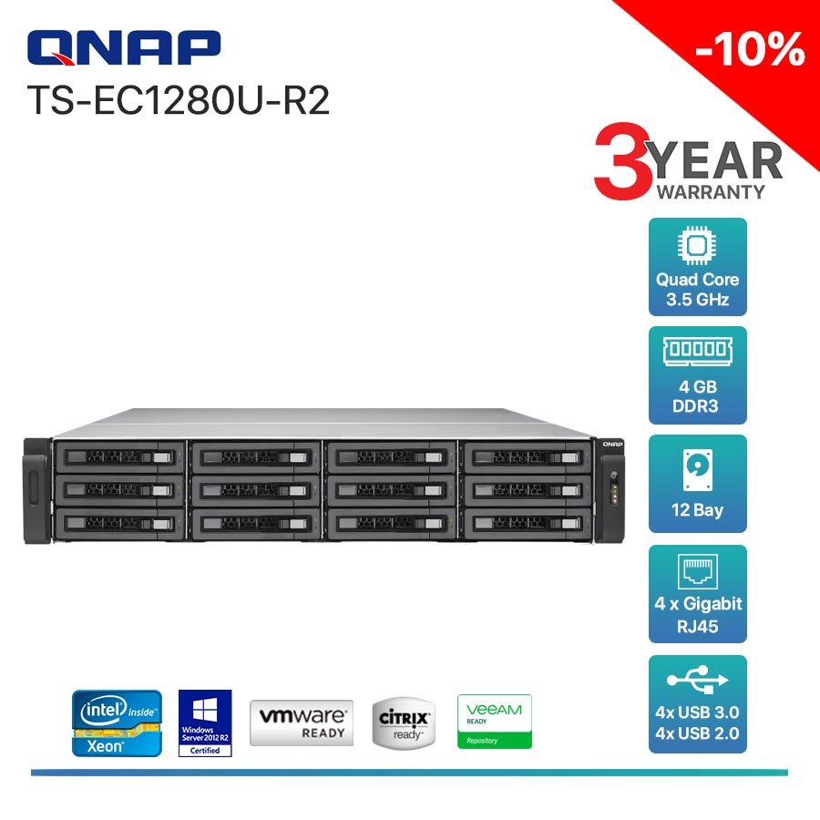 QNAP TS-EC1280U-R2 12-Bay + Rack mount