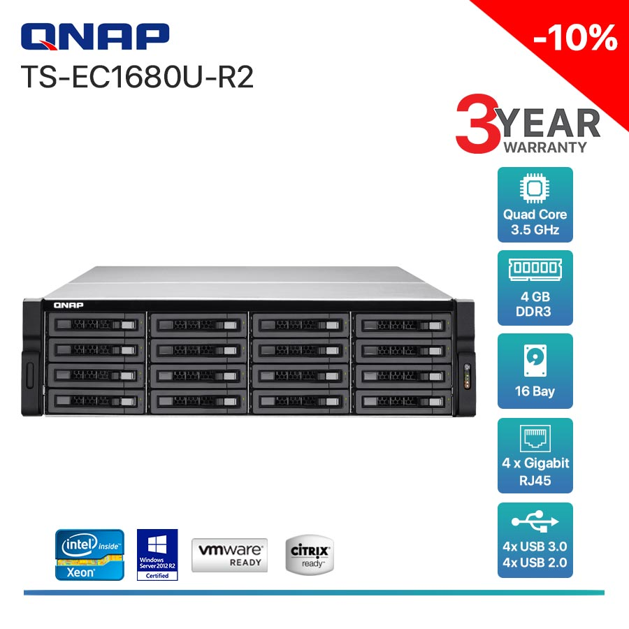 QNAP TS-EC1680U-R2 16-Bay + Rack mount