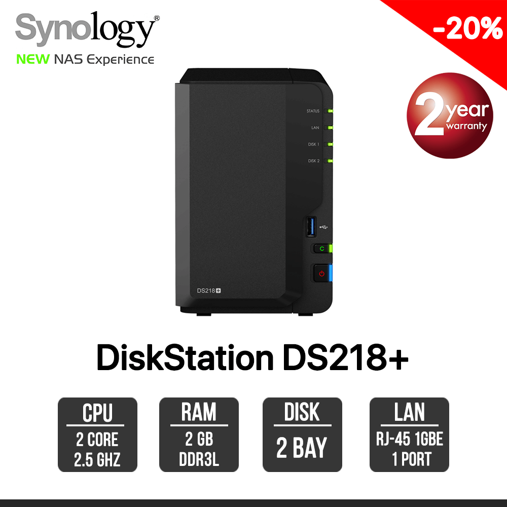 Synology DiskStation DS218+ 2-Bays NAS